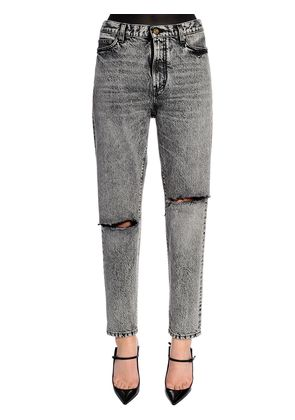 BAGGY ASYMMETRIC RIPS WASHED DENIM JEANS