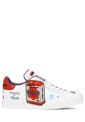 20MM GRAFFITI & PATCHES LEATHER SNEAKERS