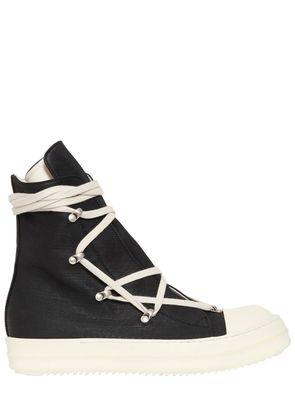 ZIP STRETCH WAXED COTTON HIGH SNEAKERS