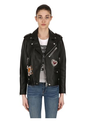 KEITH HARING LEATHER BIKER JACKET