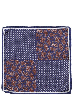 FLORAL PAISLEY SILK TWILL POCKET SQUARE