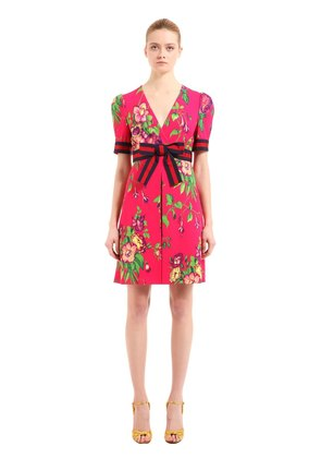 FLORAL PRINTED STRETCH JERSEY DRESS