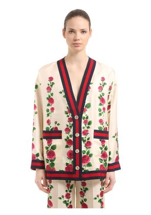 ROSE PRINTED SILK TWILL CARDIGAN JACKET