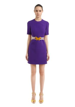 BELTED WOOL & SILK CREPE CADY DRESS