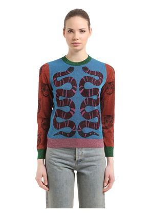 DOUBLE SNAKE LUREX JACQUARD SWEATER