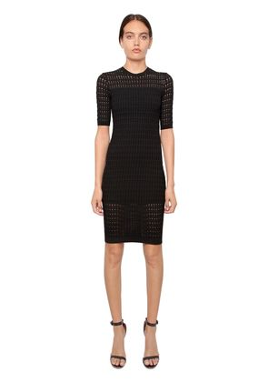 PERFORATED STRETCH VISCOSE DRESS