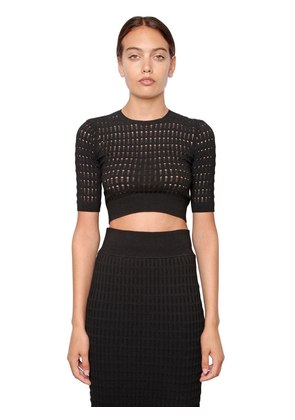 CROPPED & PERFORATED STRETCH VISCOSE TOP