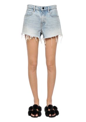 FRINGED HEM COTTON DENIM SHORTS