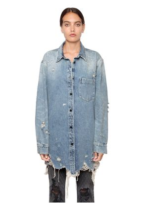 OVERSIZED DISTRESSED DENIM SHIRT JACKET