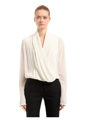 DRAPED SILK SHIRT