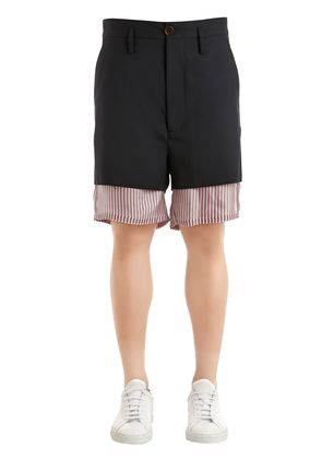 VIRGIN WOOL SHORTS W/ STRIPES LINING
