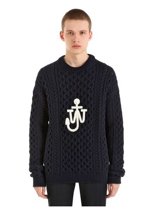 LOGO COTTON BLEND CABLE KNIT SWEATER