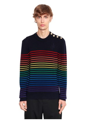 STRIPED EXTRA FINE WOOL SWEATER