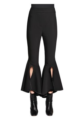 RUFFLED WOOL GABARDINE CROPPED PANTS