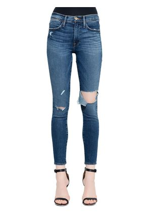 LE HIGH SKINNY CUT OUT DENIM JEANS
