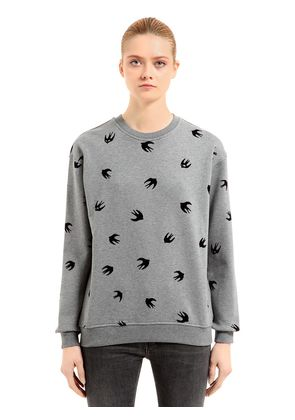 SWALLOW FLOCKED COTTON SWEATSHIRT