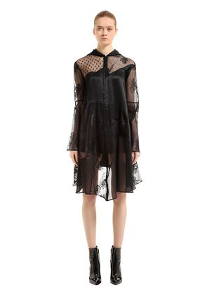 HOODED PATCHWORK LACE & TULLE COAT