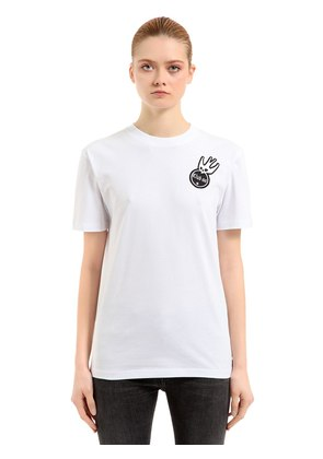 SWALLOW EMBROIDERED JERSEY T-SHIRT