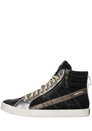 SUEDE & LEATHER HIGH TOP SNEAKERS