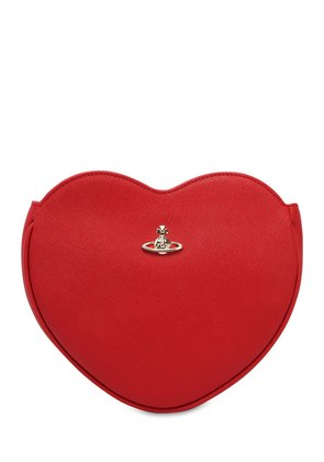 HEART SAFFIANO LEATHER CLUTCH