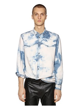 BLEACHED COTTON DENIM WESTERN SHIRT