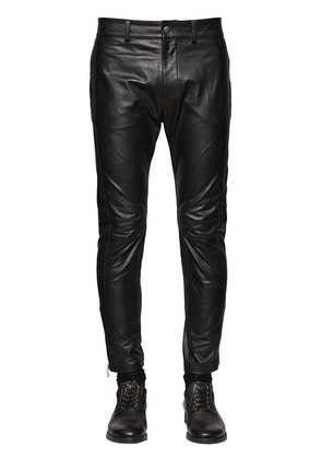 SLIM FIT CROPPED NAPPA LEATHER PANTS