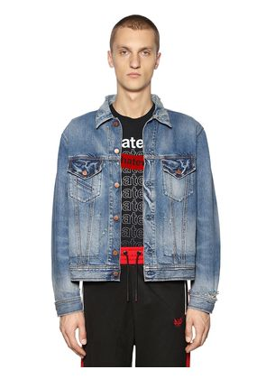 BOXY FIT DESTROYED COTTON DENIM JACKET