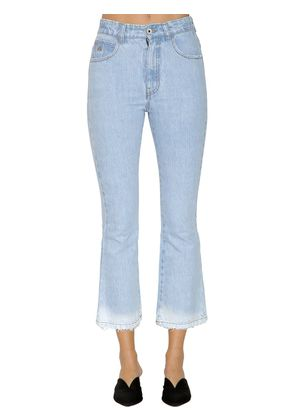MID RISE WASHED CROPPED DENIM JEANS