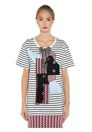 EMBELLISHED PATCH STRIPED JERSEY T-SHIRT