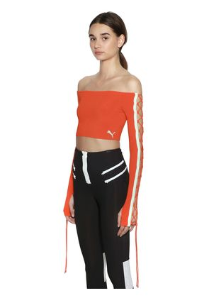 LACE-UP RIB KNIT CROPPED TOP