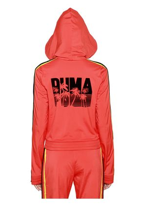 HOODED PALM PRINT ZIP-UP TRACK JACKET