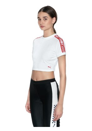 WET INTARSIA COTTON CROPPED T-SHIRT