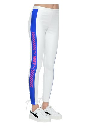 WET PRINTED LACE-UP LEGGINGS