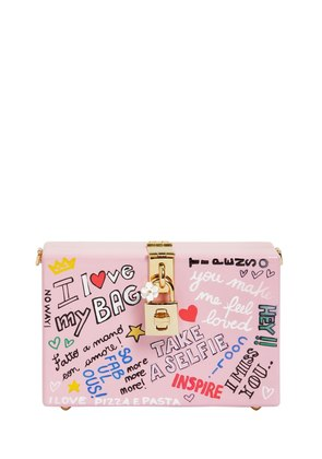 DOLCE BOX GRAFFITI PAINTED WOOD CLUTCH