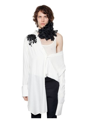 FLORAL EMBROIDERED VISCOSE LONG SHIRT