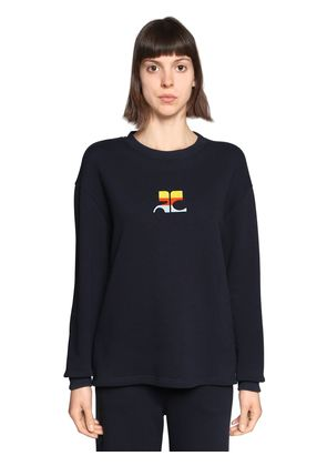 LOGO EMBROIDERED COTTON SWEATER