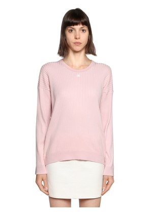 LOGO PATCH RIBBED COTTON SWEATER