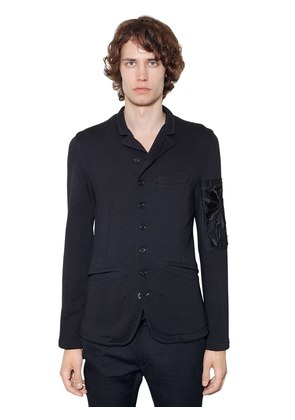 EMBROIDERED COTTON BLEND JERSEY JACKET