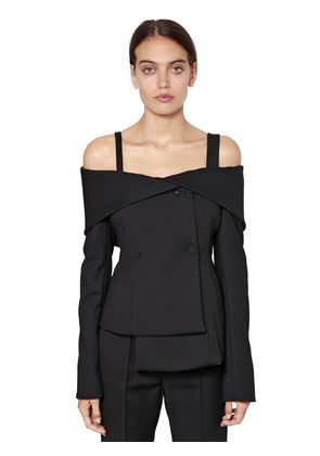 OFF THE SHOULDER DOUBLE BREASTED JACKET