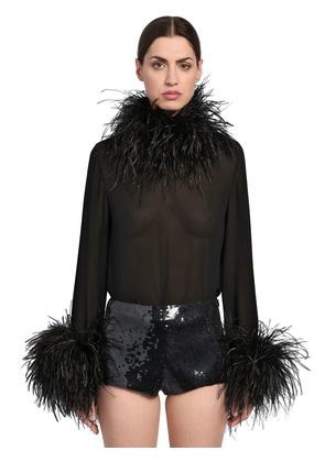 SILK GEORGETTE TOP W/ FEATHERS