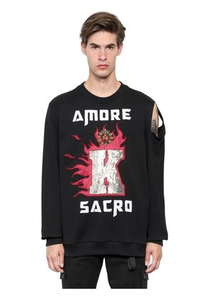AMORE SACRO PRINTED COTTON SWEATSHIRT