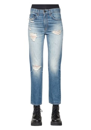 DISTRESSED STRAIGHT LEG DENIM JEANS
