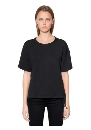 LACE UP COTTON JERSEY T-SHIRT