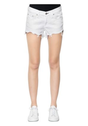 LOW RISE FRINGED HEM DENIM SHORTS