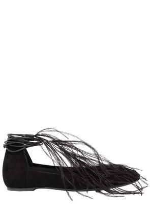 10MM FEATHER SUEDE LACE-UP BALLERINAS