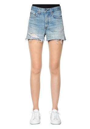 HIGH RISE FRINGED HEM DENIM SHORTS