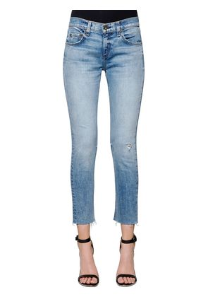 SLIM CROPPED RAW CUT HEM DENIM JEANS