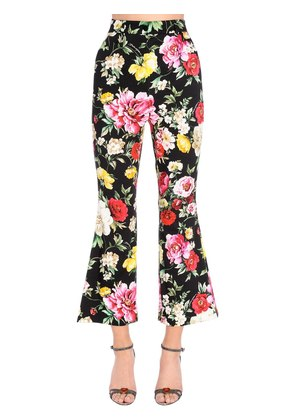 ROSES PRINTED FLARED COTTON DRILL PANTS