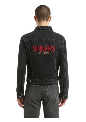 SINNERS EMBROIDERED COTTON DENIM JACKET
