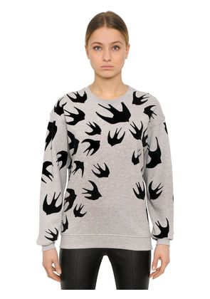 SWALLOW FLOCKED COTTON JERSEY SWEATSHIRT